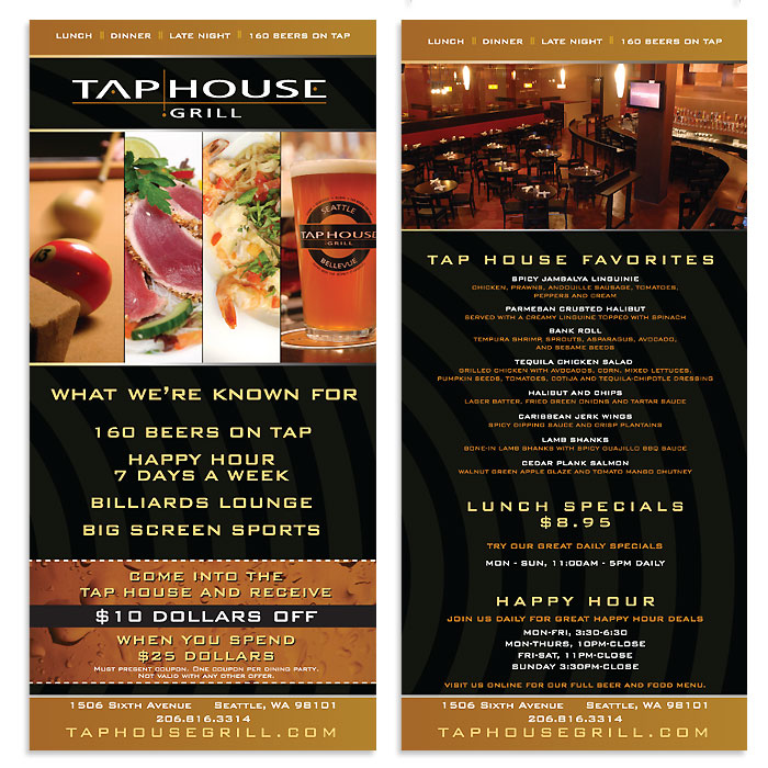 tap house grill rack card